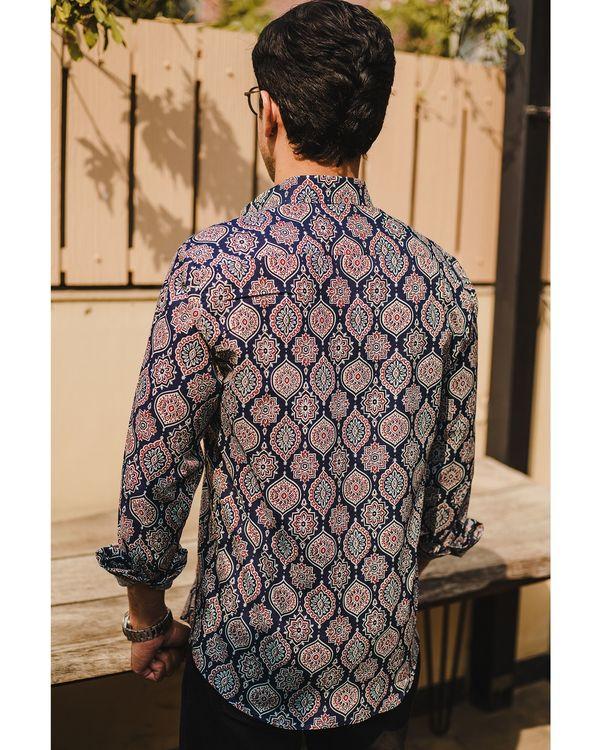 Blue persian ajrakh printed shirt 3