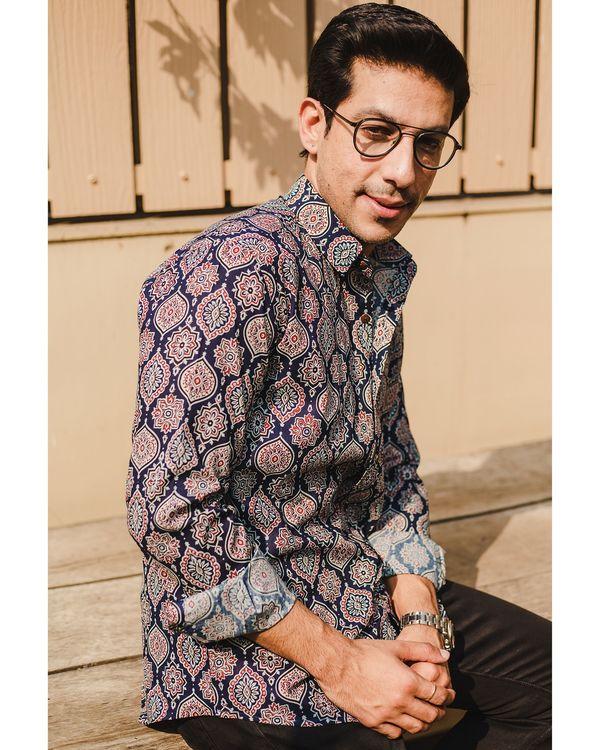Blue persian ajrakh printed shirt 2