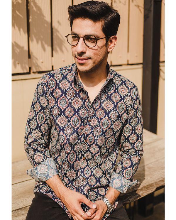 Blue persian ajrakh printed shirt 1