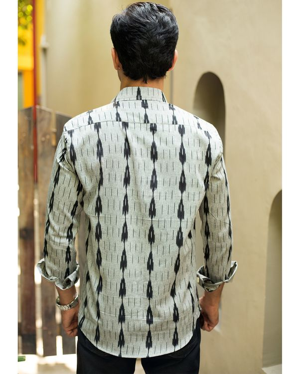 Grey and black double striped ikat shirt 3