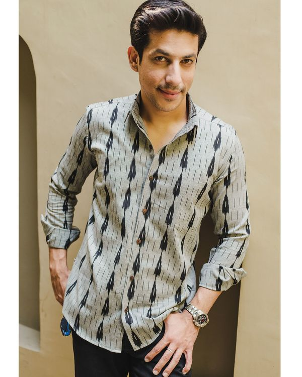Grey and black double striped ikat shirt 2