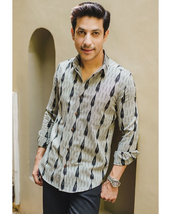 Grey and black double striped ikat shirt 1