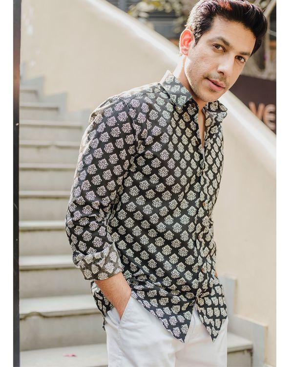 Black mughal printed shirt 1