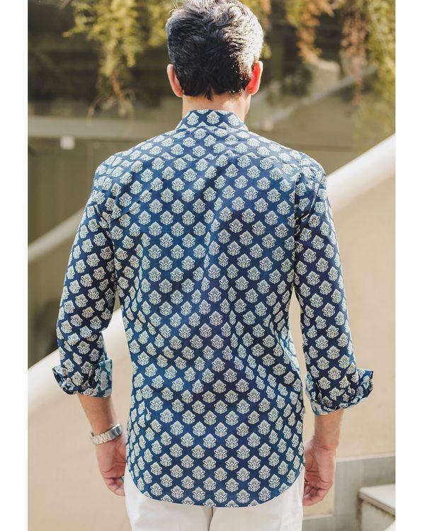 Blue mughal printed shirt 2