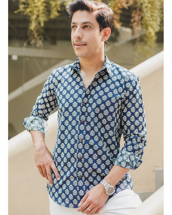 Blue mughal printed shirt 1