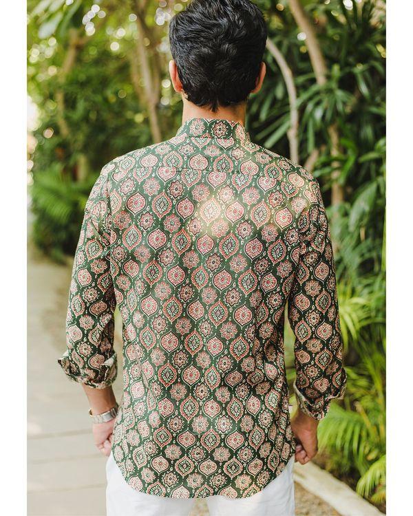 Green persian ajrakh printed shirt 3