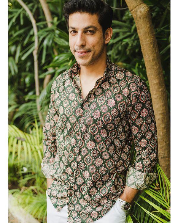 Green persian ajrakh printed shirt 2