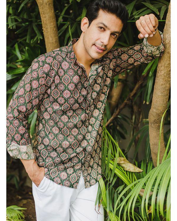 Green persian ajrakh printed shirt 1