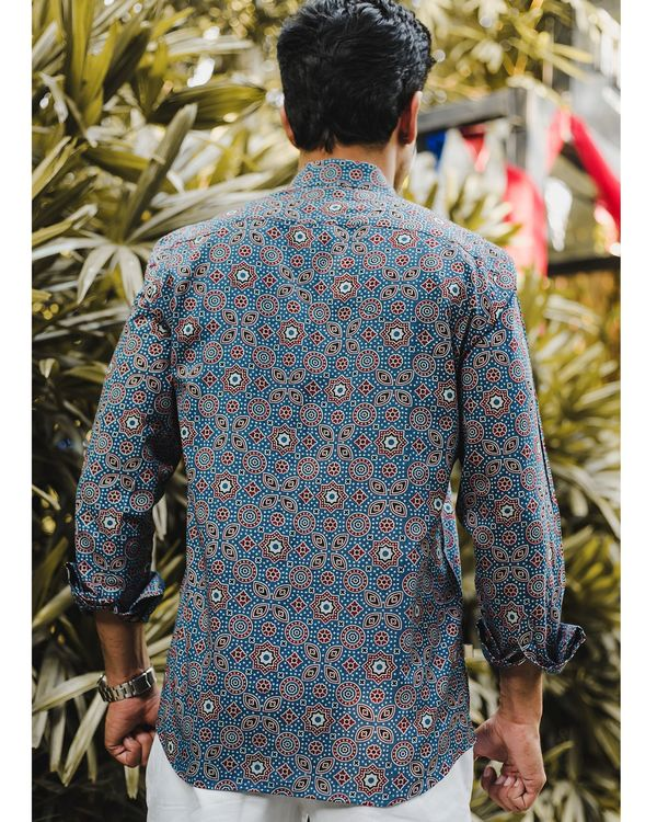 Blue ajrakh printed shirt 3
