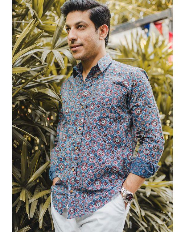 Blue ajrakh printed shirt 2