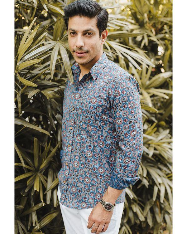 Blue ajrakh printed shirt 1