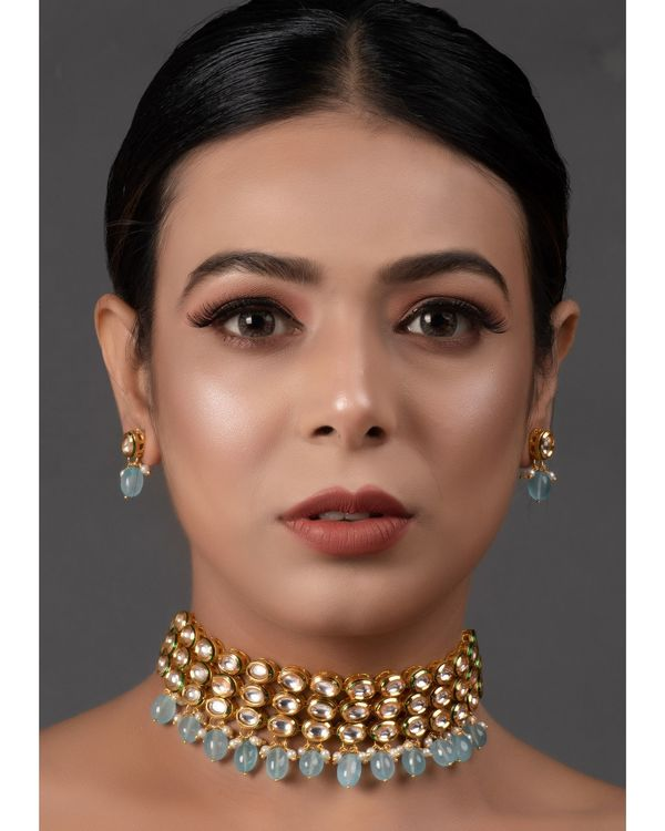 Pastel blue kundan beaded neckpiece with earrings - set of two 1