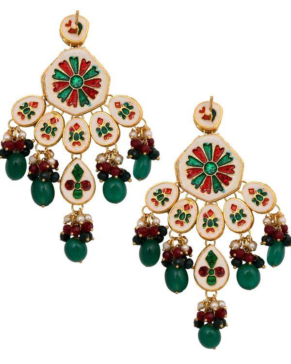 Emerald ruby and kundan drop earrings 2