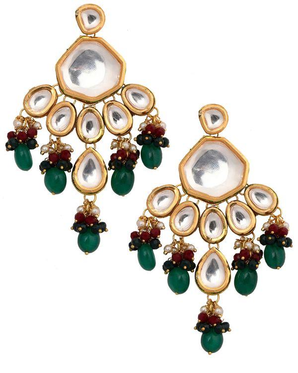 Emerald ruby and kundan drop earrings 1
