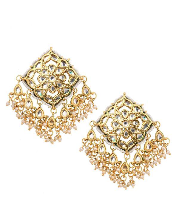 Floral engraved kundan and beaded earrings 1