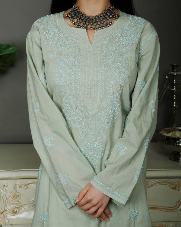 Light green chikankari cotton kurta with white palazzo- set of two 3