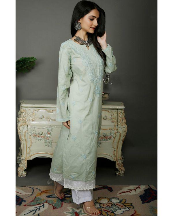Light green chikankari cotton kurta with white palazzo- set of two 2