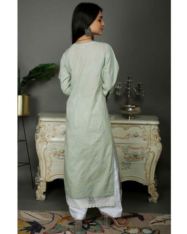 Light green chikankari cotton kurta with white palazzo- set of two 1
