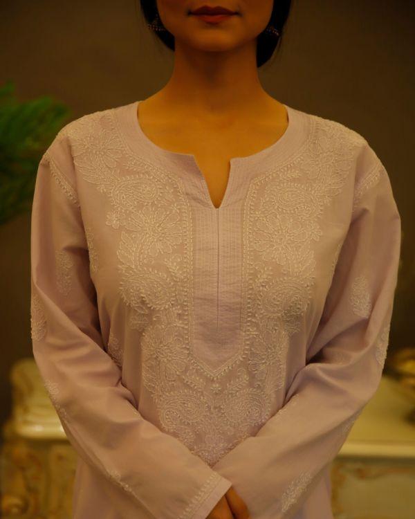 Lilac chikankari cotton kurta 3