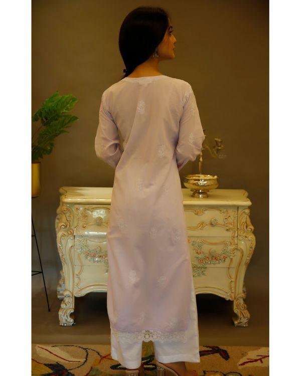 Lilac chikankari cotton kurta 2