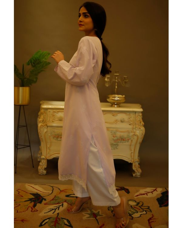 Lilac chikankari cotton kurta 1
