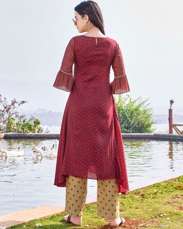 Maroon digital printed hand embroidered kurta and beige pants - set of two 1