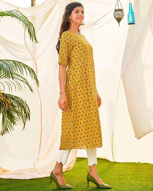 Mustard yellow embellished digital printed kurta 2