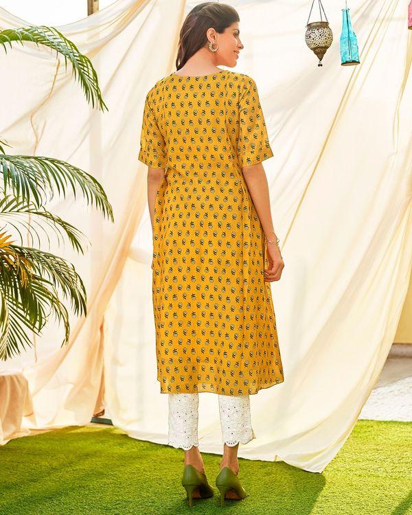 Mustard yellow embellished digital printed kurta 1