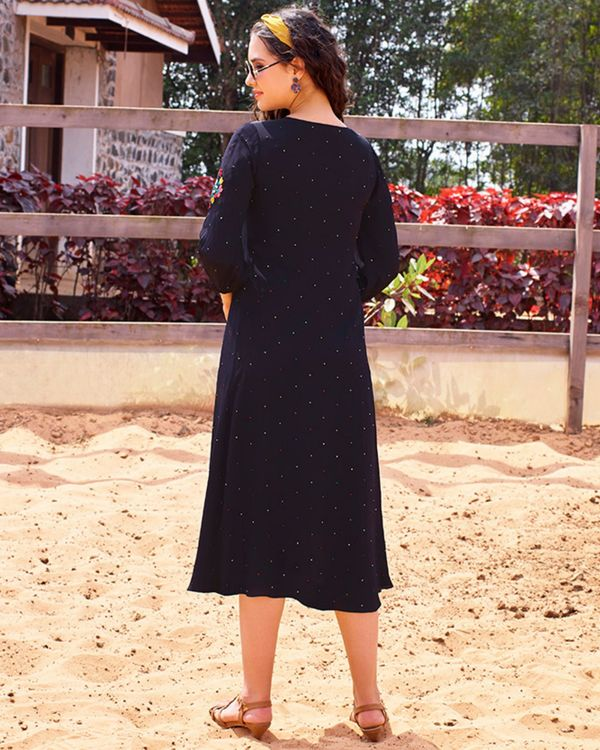 Navy blue embroidered dress 3