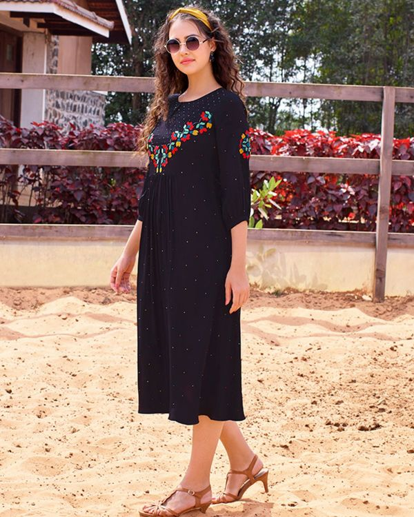 Navy blue embroidered dress 2