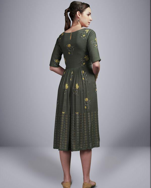 Grey floral digital printed dress 2