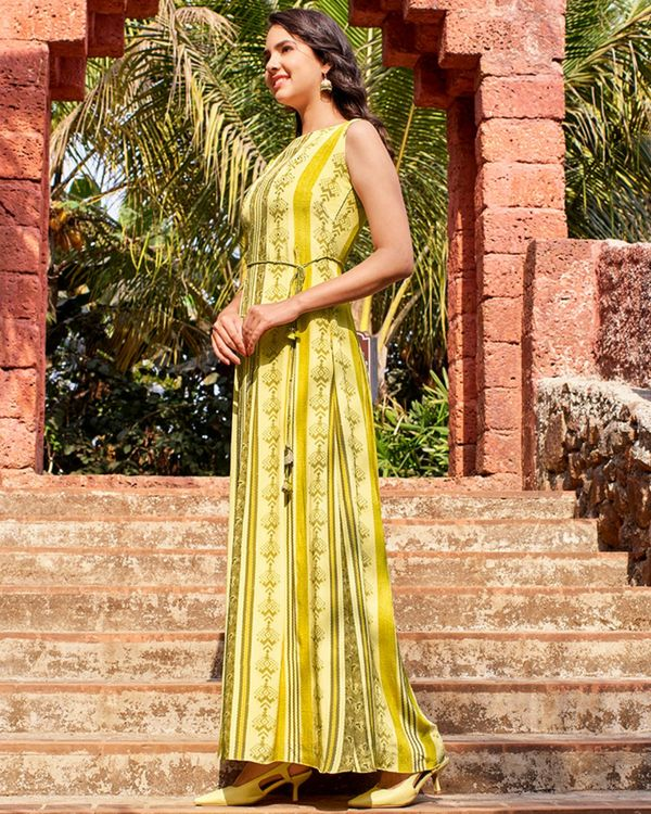 Yellow floral digital printed embellished dress 2