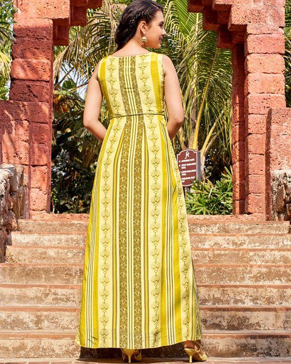 Yellow floral digital printed embellished dress 1