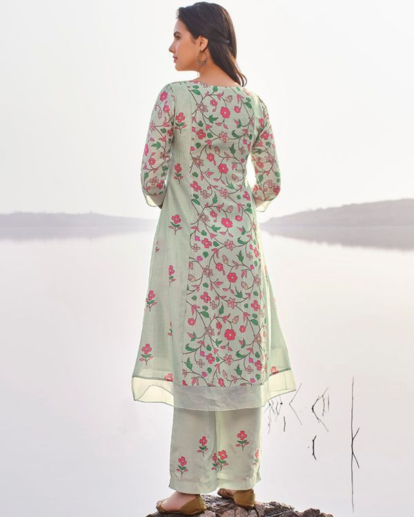 Pastel blue floral printed and embroidered kurta with pants - set of two 1