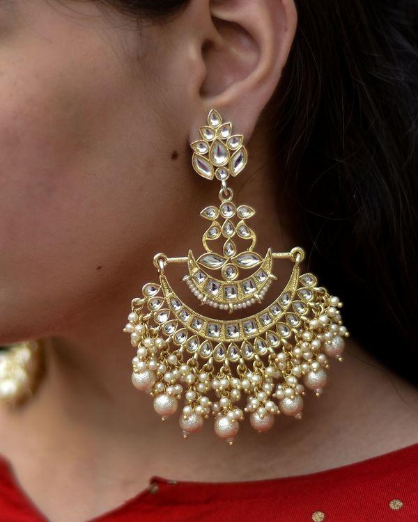 Kundan and pearl floral chandbali earring 1