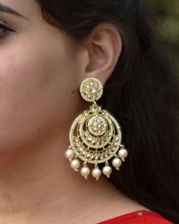 Floral kundan beaded chandbali earring 1