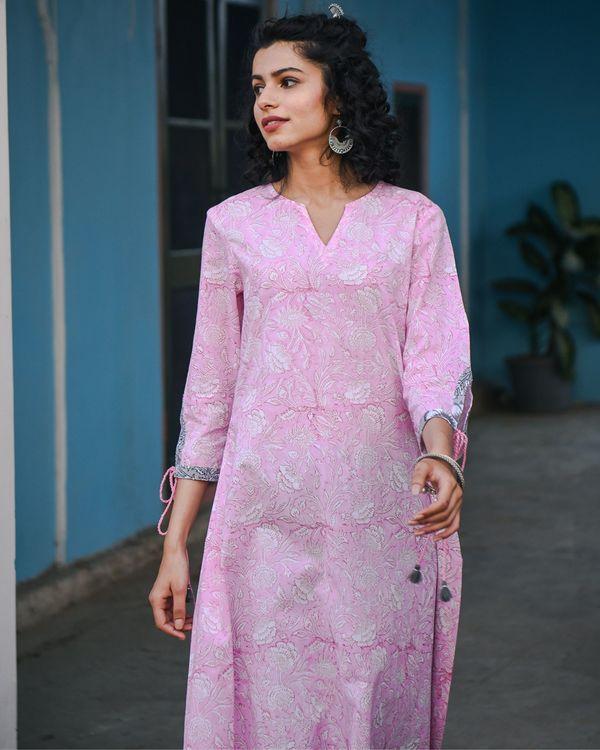 Ahe pink hand block printed kurta 2