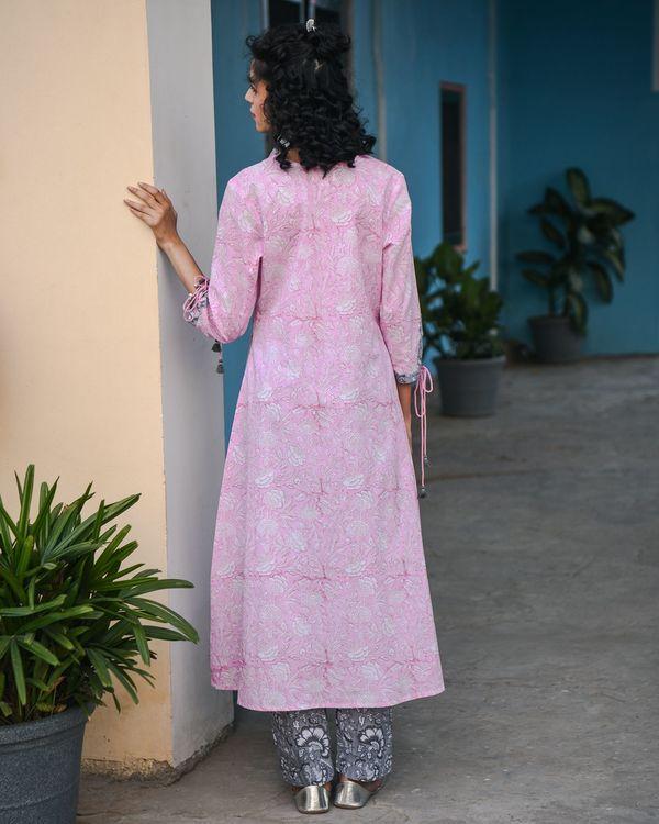 Ahe pink hand block printed kurta 1