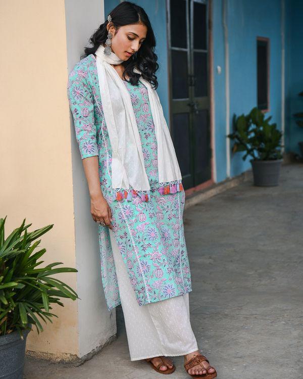 Ketak green printed lace detailed kurta 1