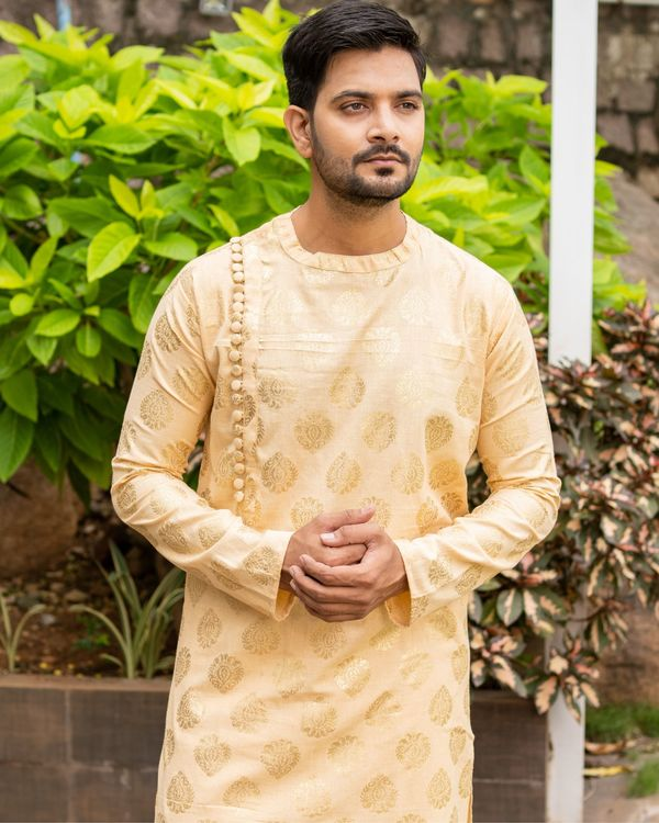 Beige linen cotton side button kurta and pants - set of two 3