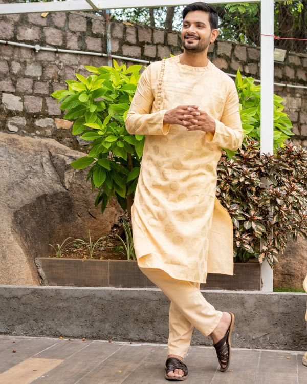 Beige linen cotton side button kurta and pants - set of two 2