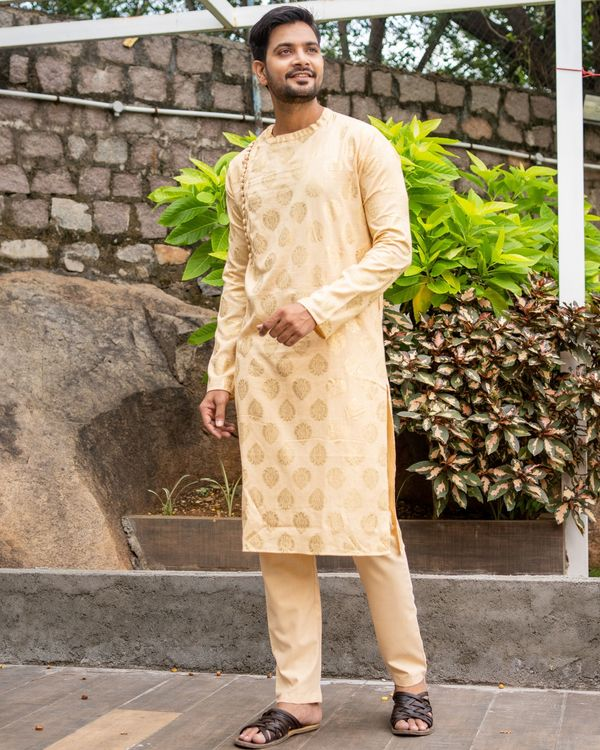 Beige linen cotton side button kurta and pants - set of two 1