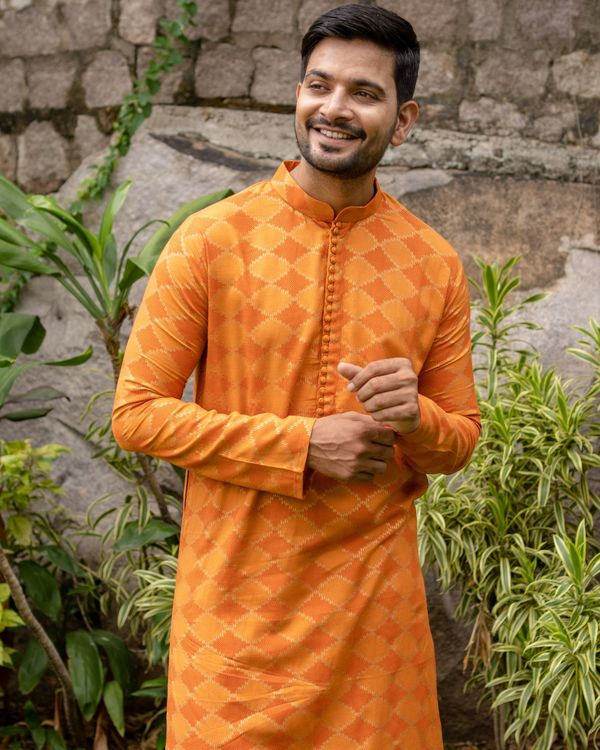 Orange and golden printed checkered kurta with off white pants - set of two 3