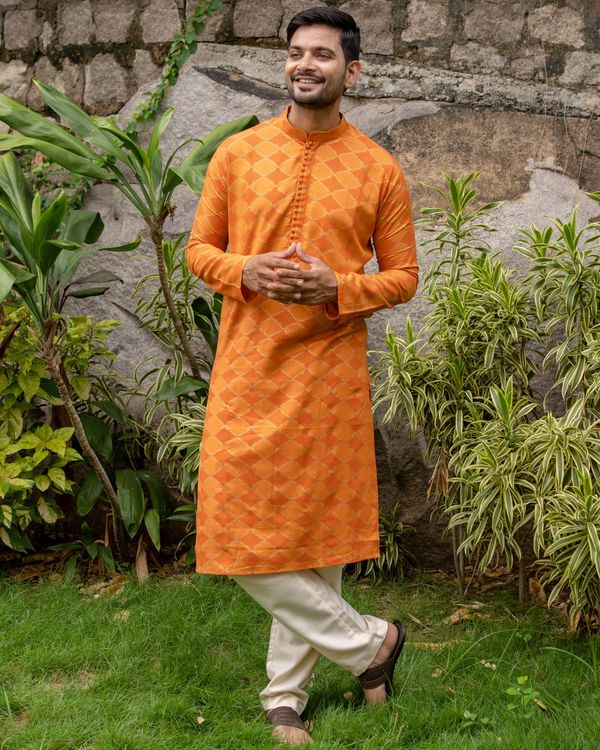 Orange and golden printed checkered kurta with off white pants - set of two 2