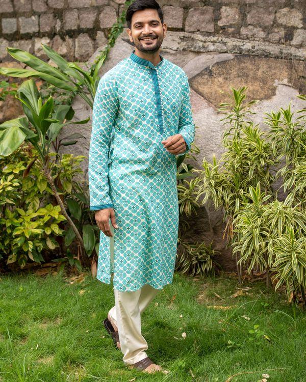 Bluish green printed kurta and off white pants - set of two 2