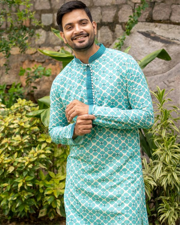 Bluish green printed kurta and off white pants - set of two 1