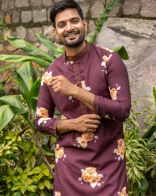 Maroon and rose printed kurta with off white pants - set of two 2