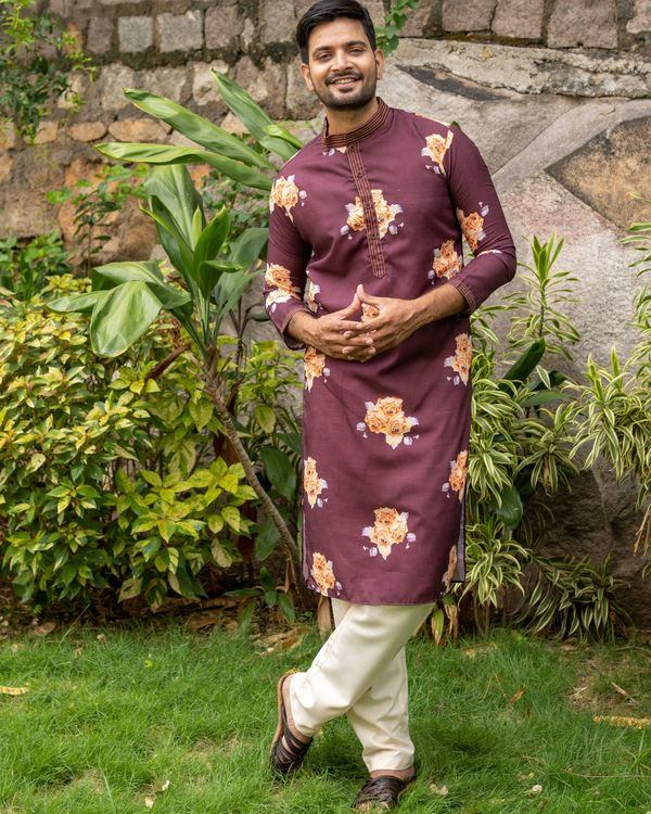 Maroon and rose printed kurta with off white pants - set of two 1