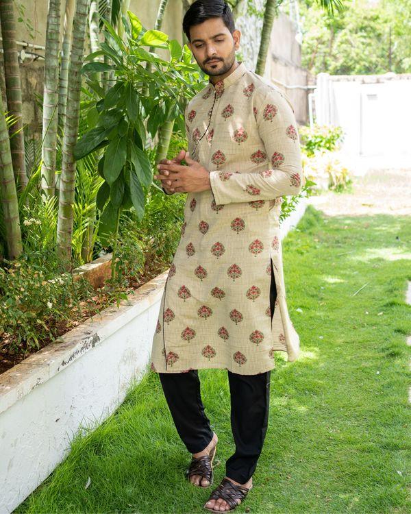Beige and pink boota printed angrakha kurta 1