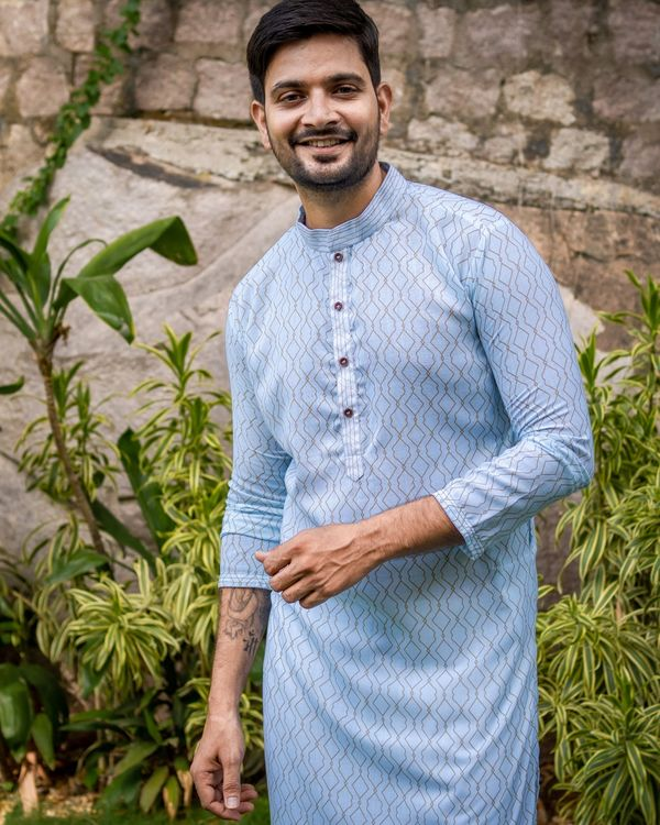 Powder blue jaal printed kurta and off white pants - set of two 3